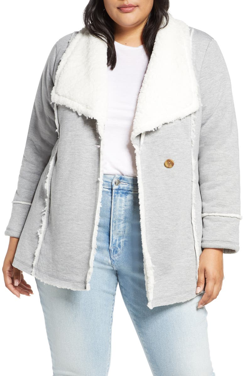 CASLON<SUP>®</SUP> Faux Shearling Lined Knit Jacket, Main, color, GREY