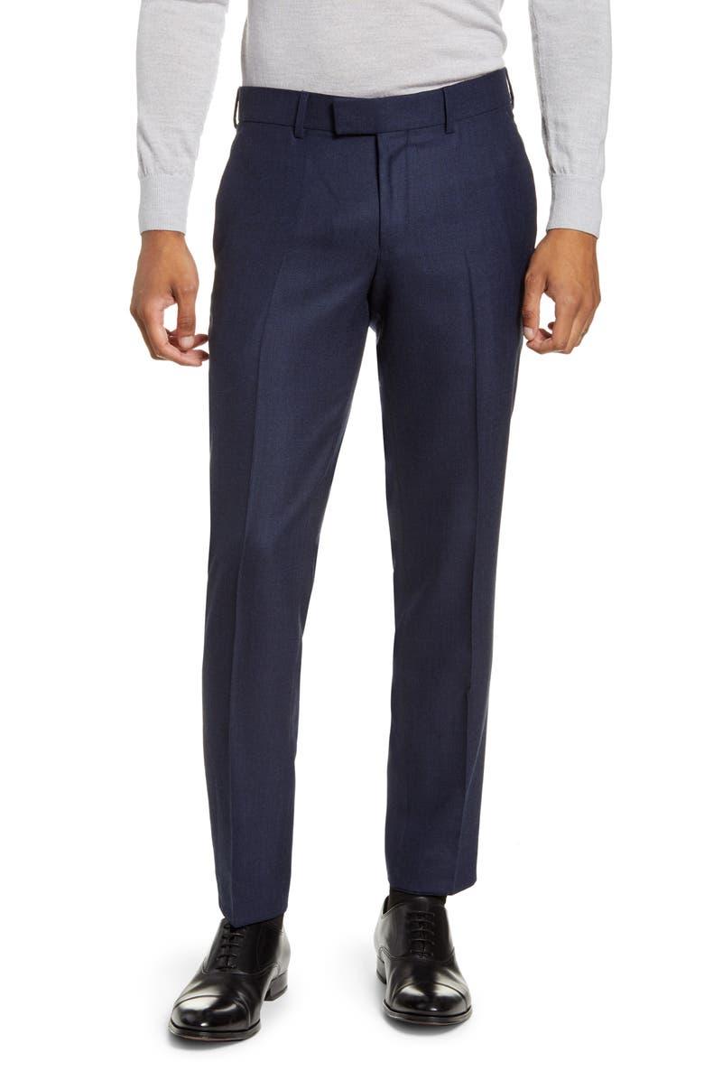 TIGER OF SWEDEN Tordon Flat Front Solid Wool Blend Dress Pants, Main, color, MIDNIGHT BLUE