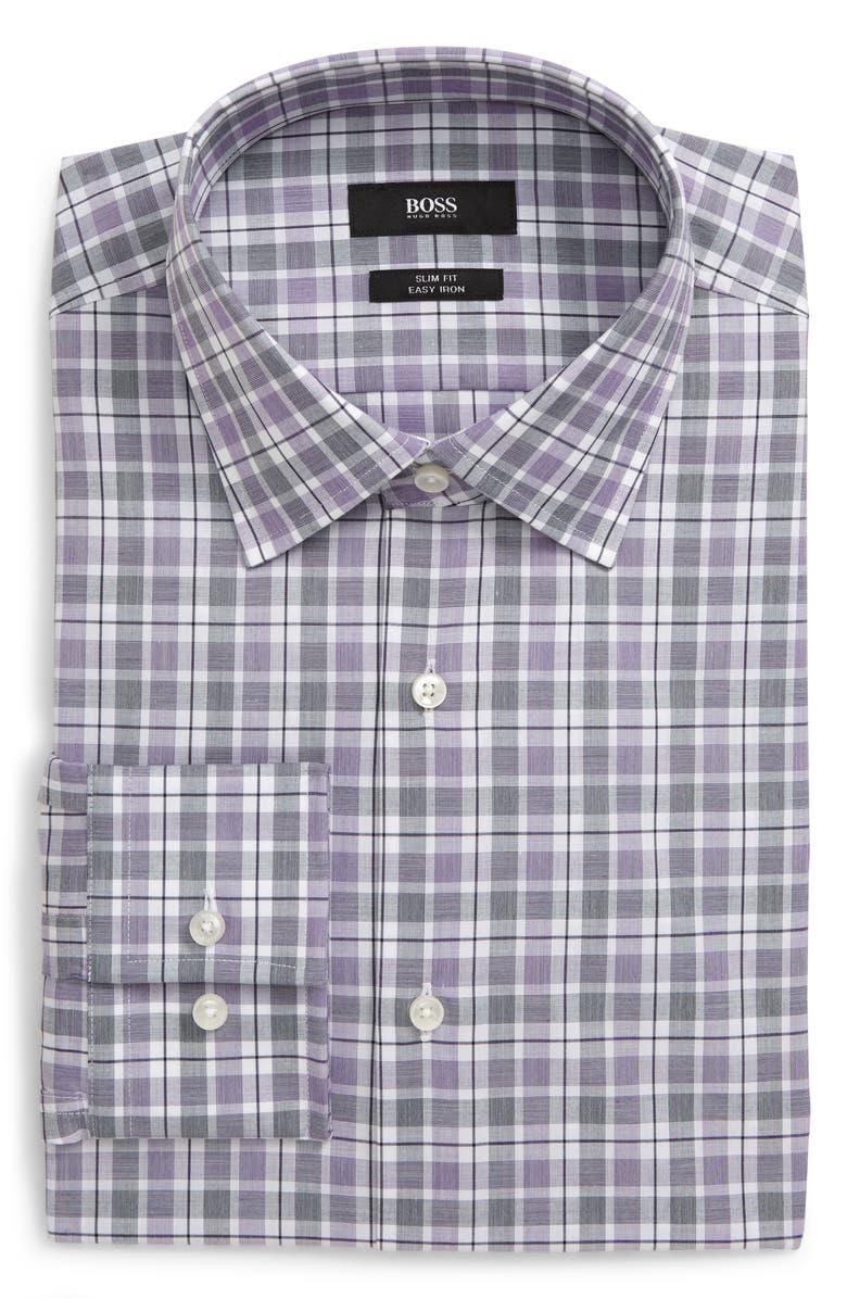 BOSS Slim Fit Easy Iron Plaid Dress Shirt, Main, color, DARK PURPLE