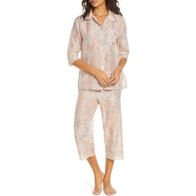 Papinelle Cherry Blossom Cotton & Silk Crop Pajamas, Pink