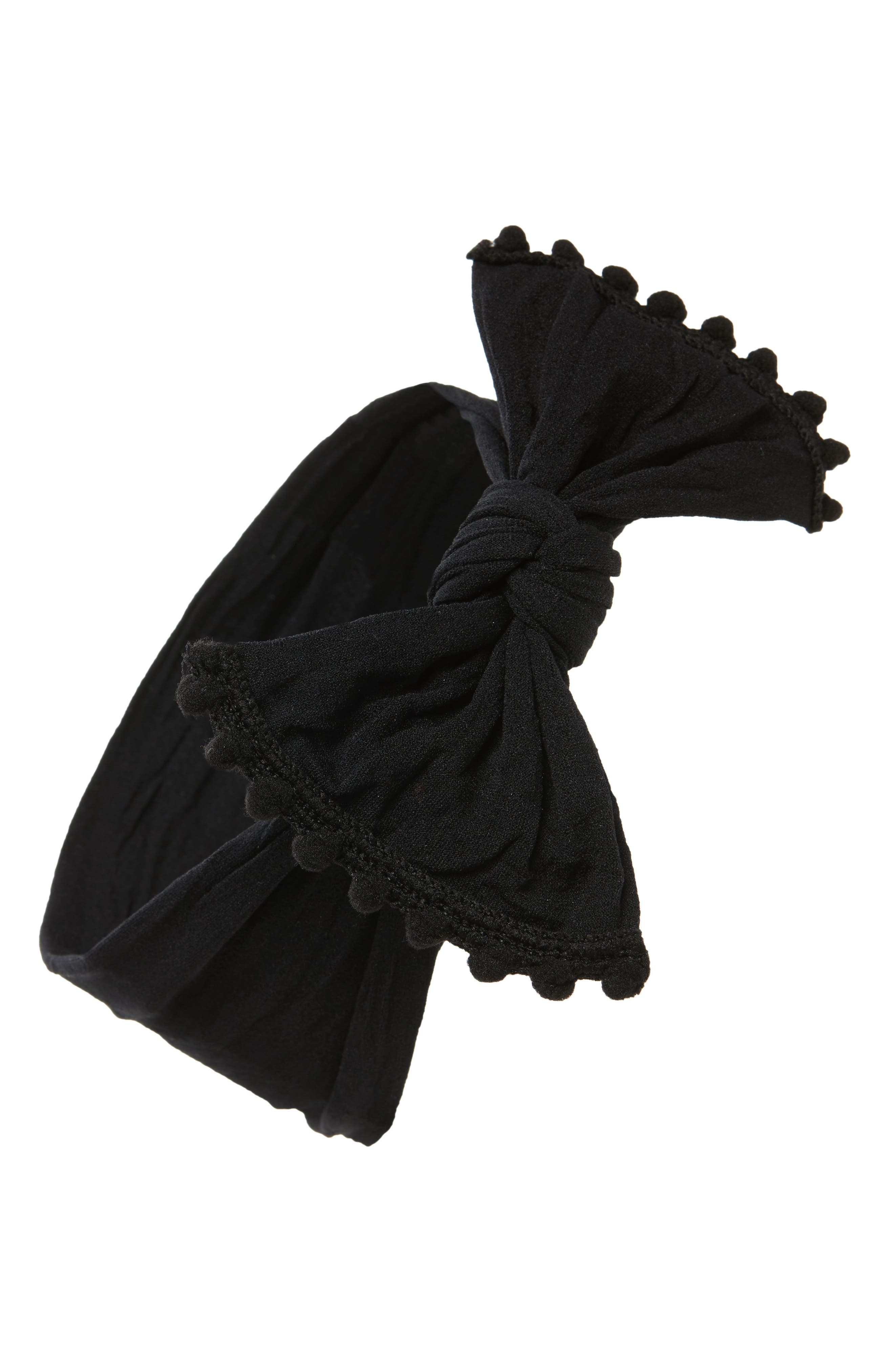 ,                             Pompom Trim Headband,                             Main thumbnail 1, color,                             BLACK POM