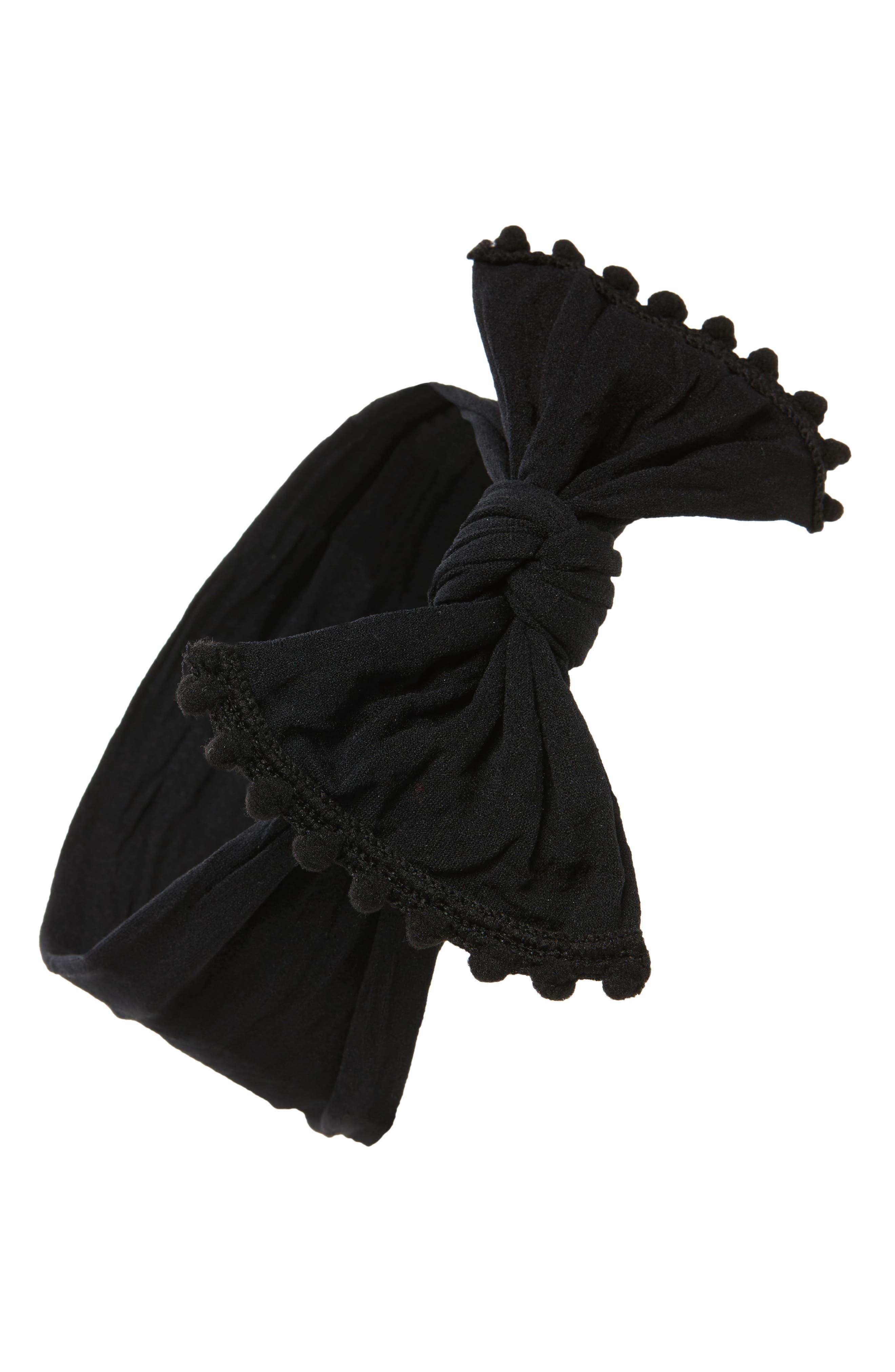 Pompom Trim Headband, Main, color, BLACK POM
