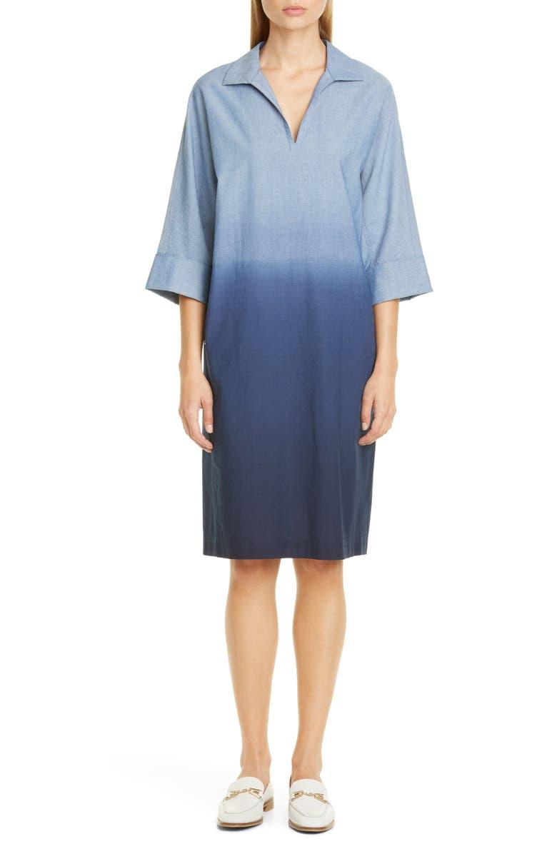 LAFAYETTE 148 NEW YORK Nicole Ombré Chambray Shirtdress, Main, color, CHAMBRAY MULTI