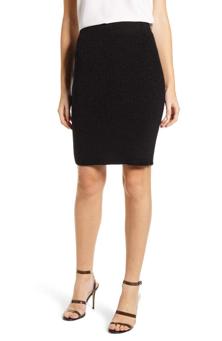 CUPCAKES AND CASHMERE Atlas Metallic Ribbed Sweater Skirt, Main, color, BLACK