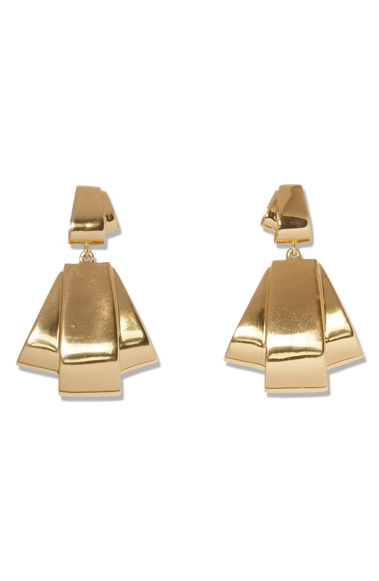SOLE SOCIETY Double Drop Earrings, Main, color, 12K SOFT POLISH GOLD