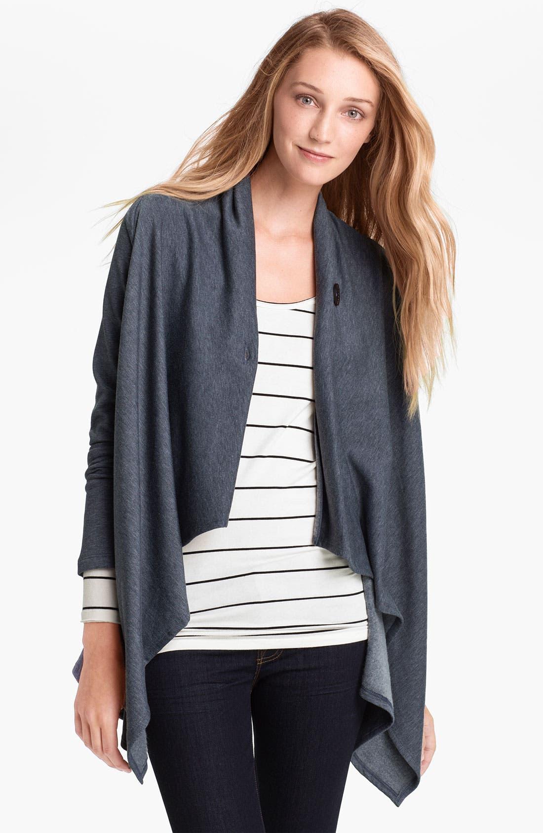 ,                             One-Button Fleece Wrap Cardigan,                             Main thumbnail 105, color,                             401