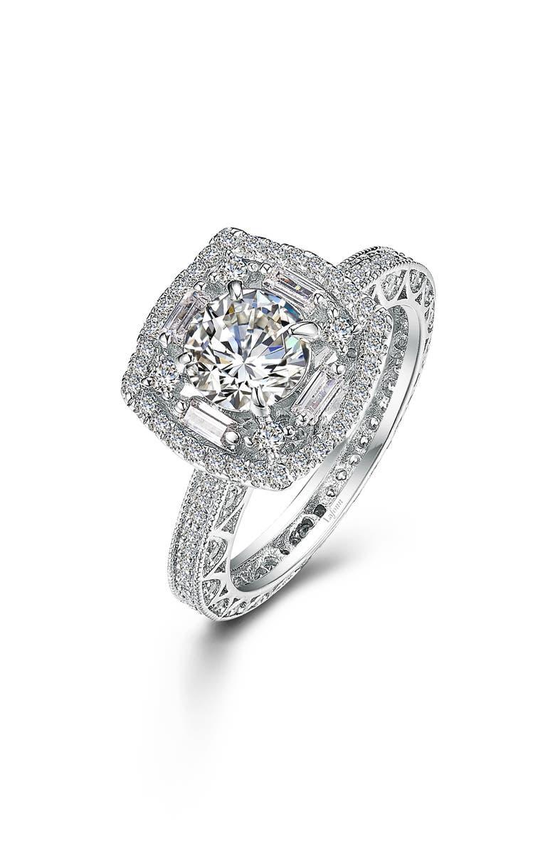 LAFONN Art Deco Ring, Main, color, SILVER/ CLEAR