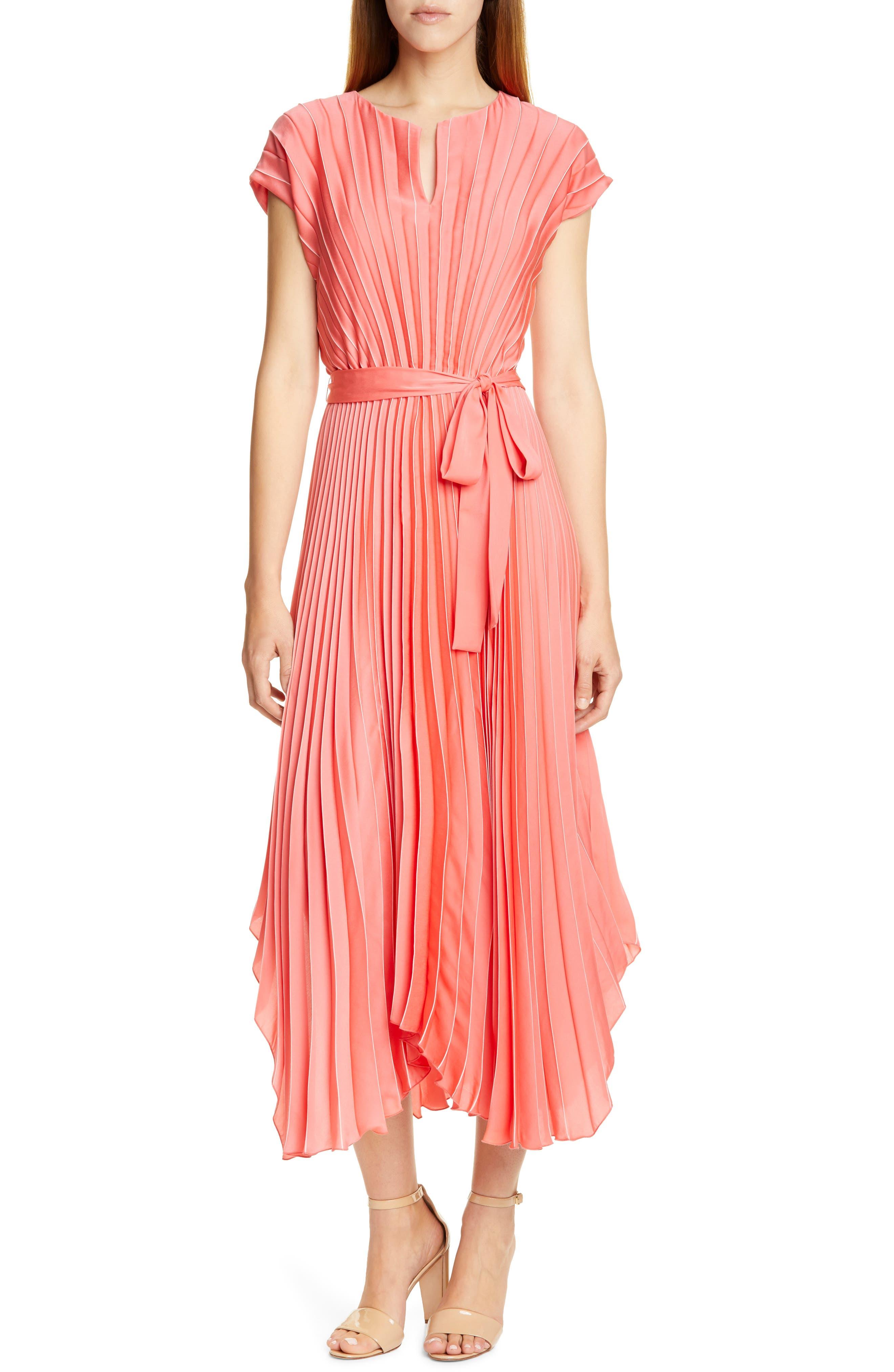 Boss Desplaya Pleated Dress, Coral