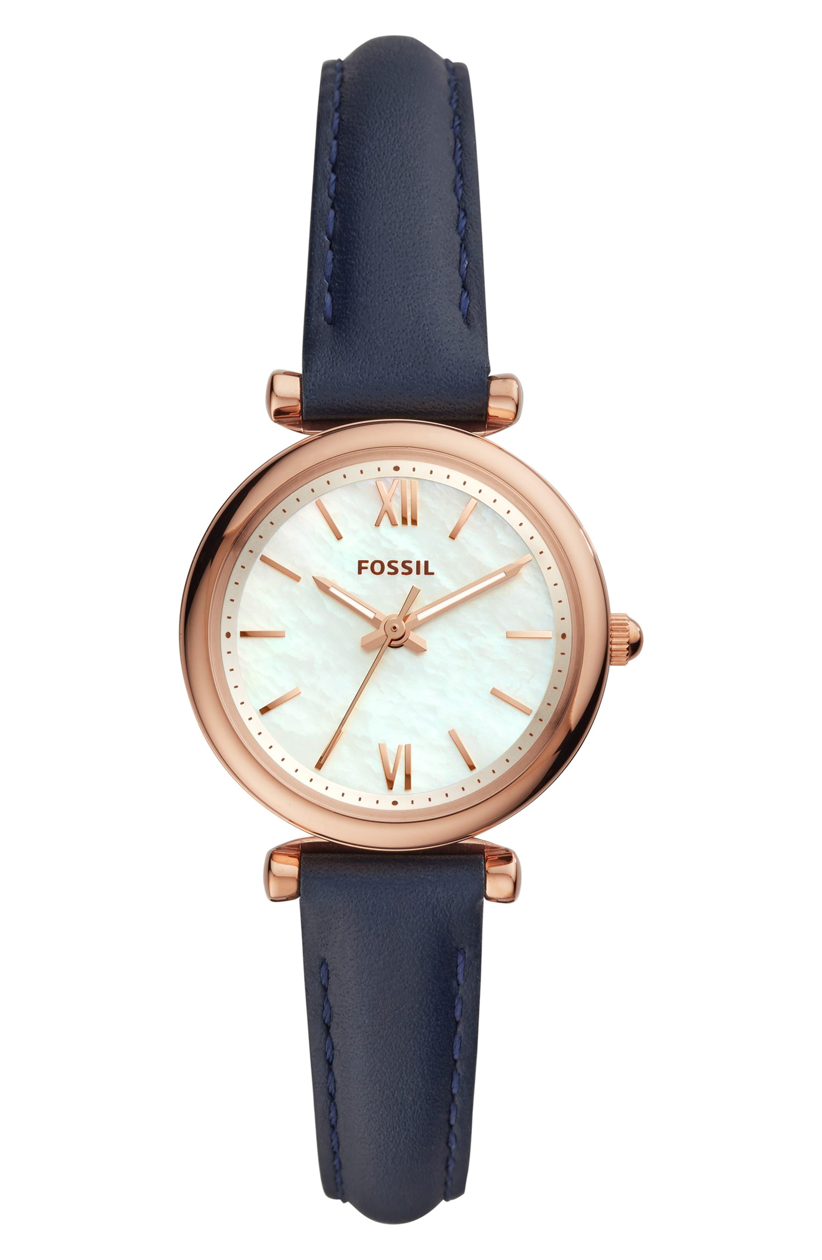 Mini Carlie Star Leather Strap Watch