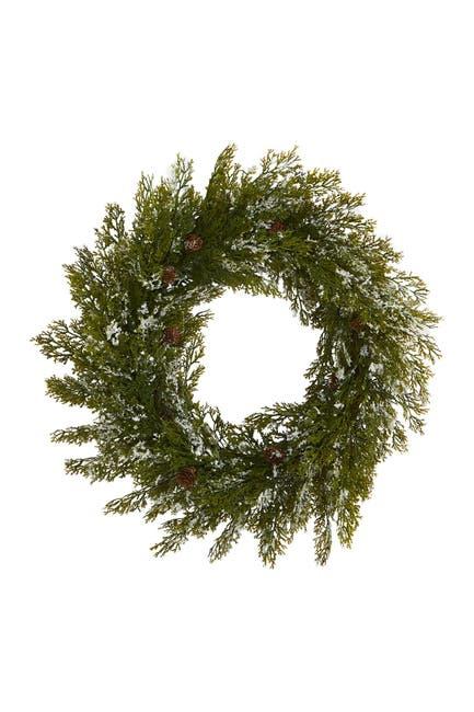 """Image of NEARLY NATURAL 20"""" Snowed Artificial Cedar & Pinecones Wreath"""
