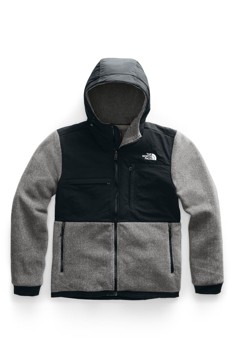 THE NORTH FACE Denali 2 Hooded Jacket, Main, color, CHARCOAL GREY HEATHER