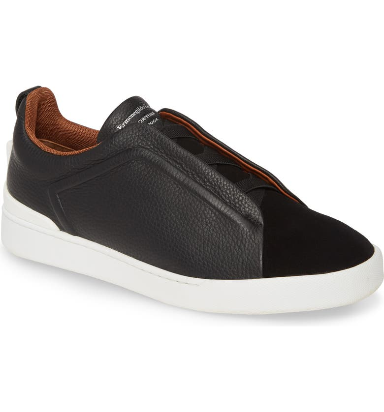ERMENEGILDO ZEGNA Slip-On Sneaker, Main, color, BLACK/ BLACK