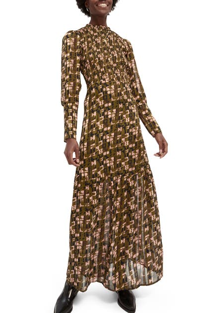 Scotch & Soda ABSTRACT PRINT LONG SLEEVE SMOCKED MAXI DRESS