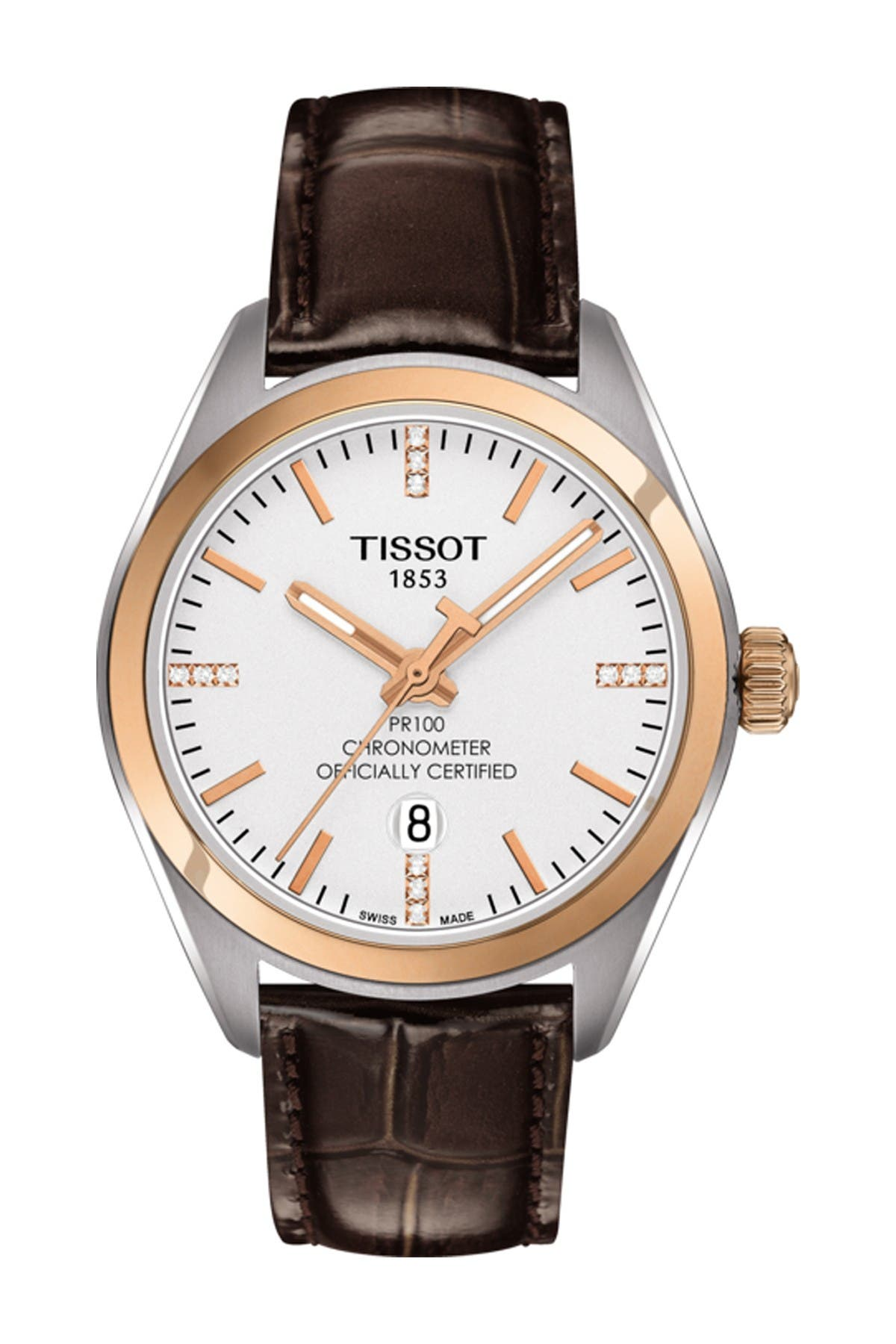Image of Tissot Women's PR 100 Lady COSC Diamond Accented Leather Watch, 33mm - 0.0456 ctw