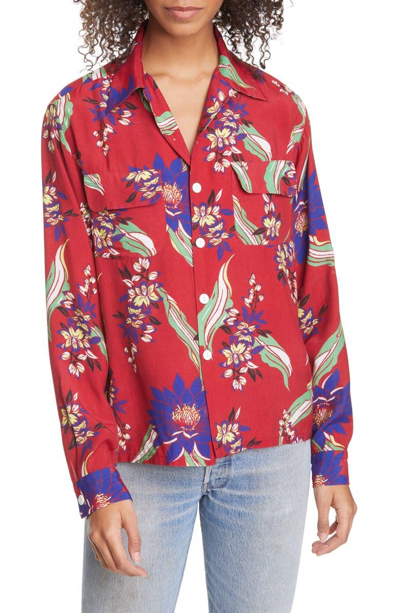 RE/DONE '40s Floral Print Shirt, Main, color, 600