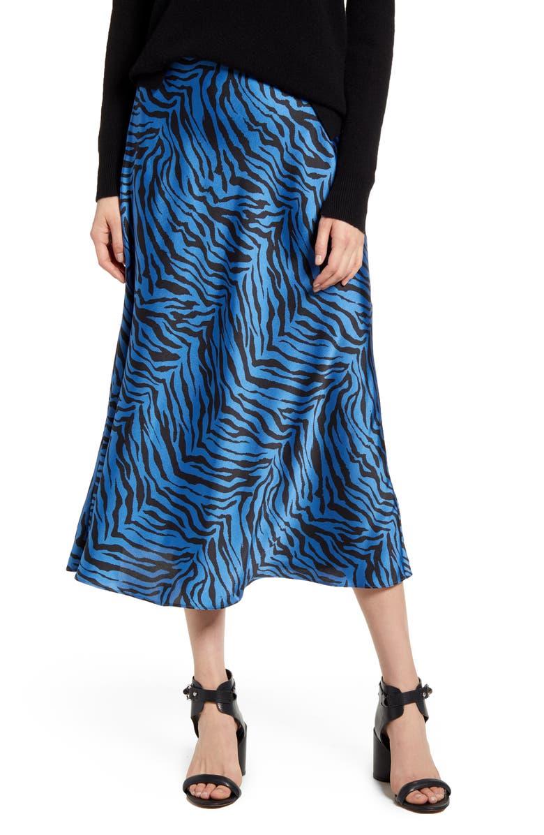 REBECCA MINKOFF Davis Leopard Print Midi Skirt, Main, color, SAPPHIRE