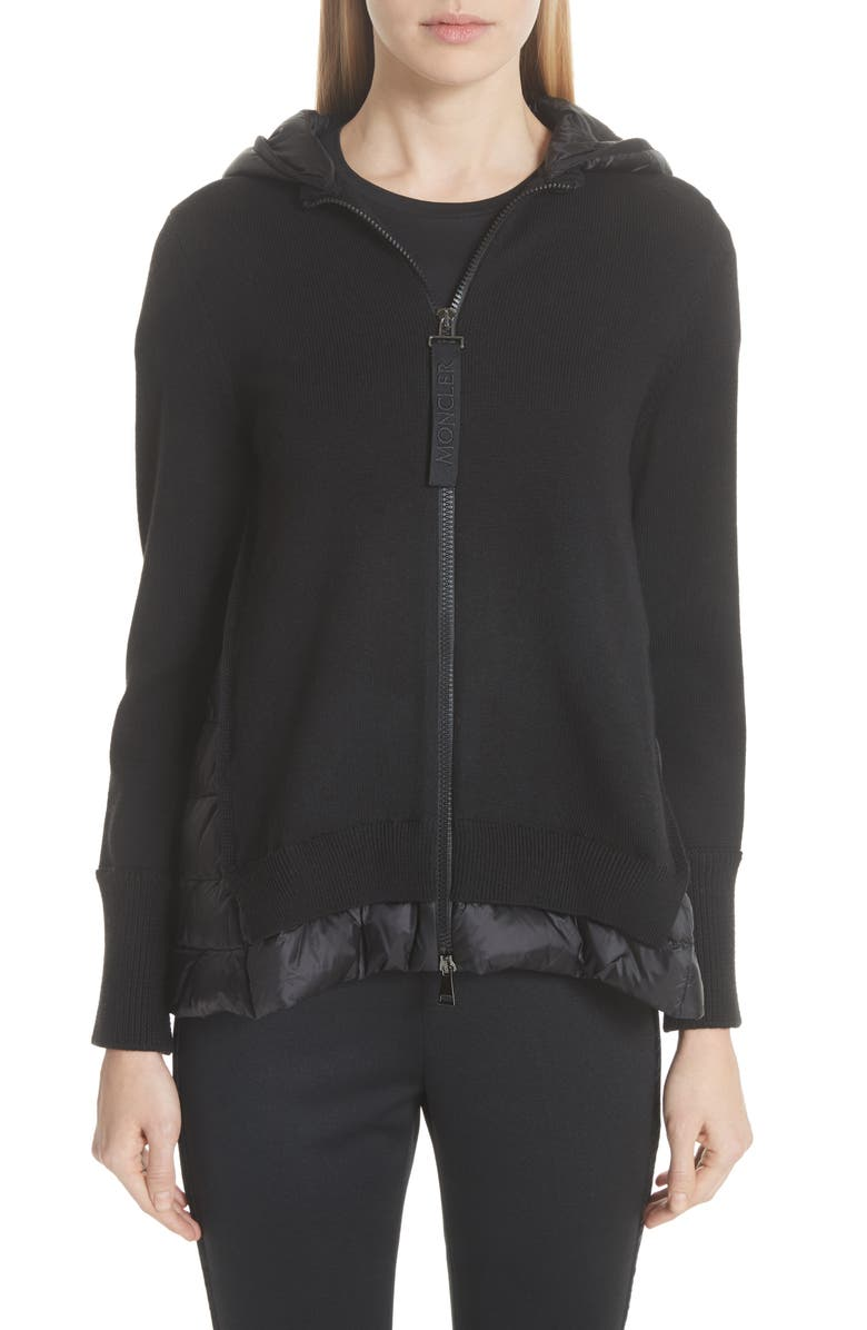 MONCLER Hooded Quilted Cardigan, Main, color, BLACK