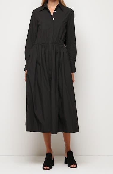 Long Sleeve Cotton Blend Shirtdress, video thumbnail