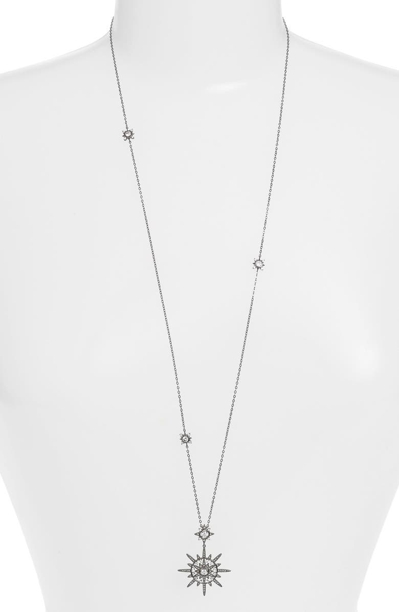 NADRI 'Liberty' Cubic Zirconia Long Pendant Necklace, Main, color, 001