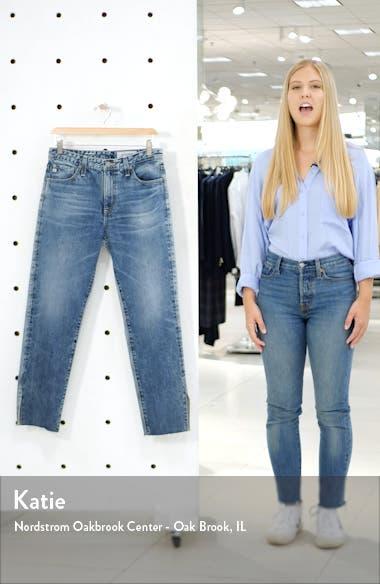 The Isabelle High Waist Slit Raw Hem Ankle Straight Leg Jeans, sales video thumbnail