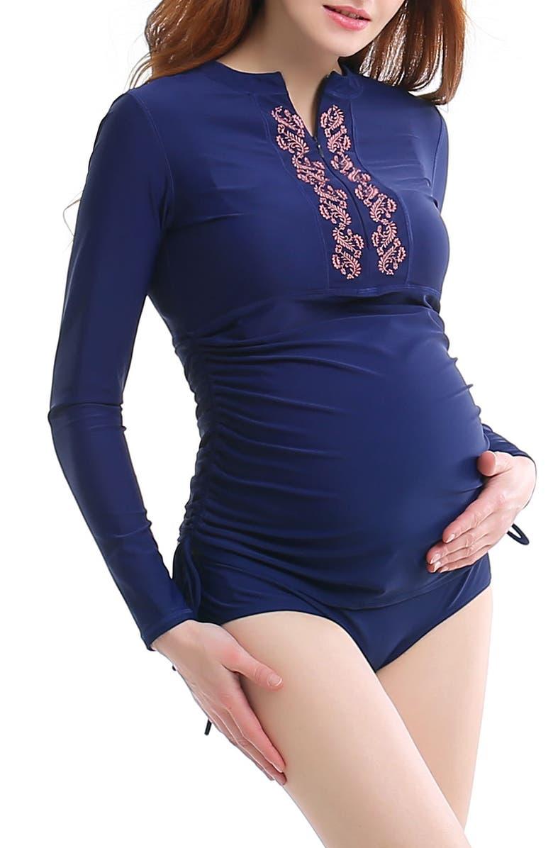 KIMI AND KAI Two-Piece Maternity Rashguard Swimsuit, Main, color, NAVY