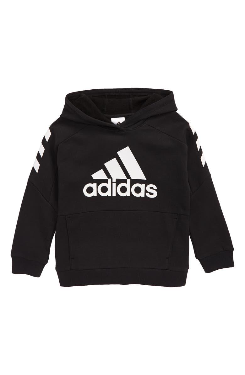 ADIDAS Block Fleece Hooded Sweatshirt, Main, color, 001