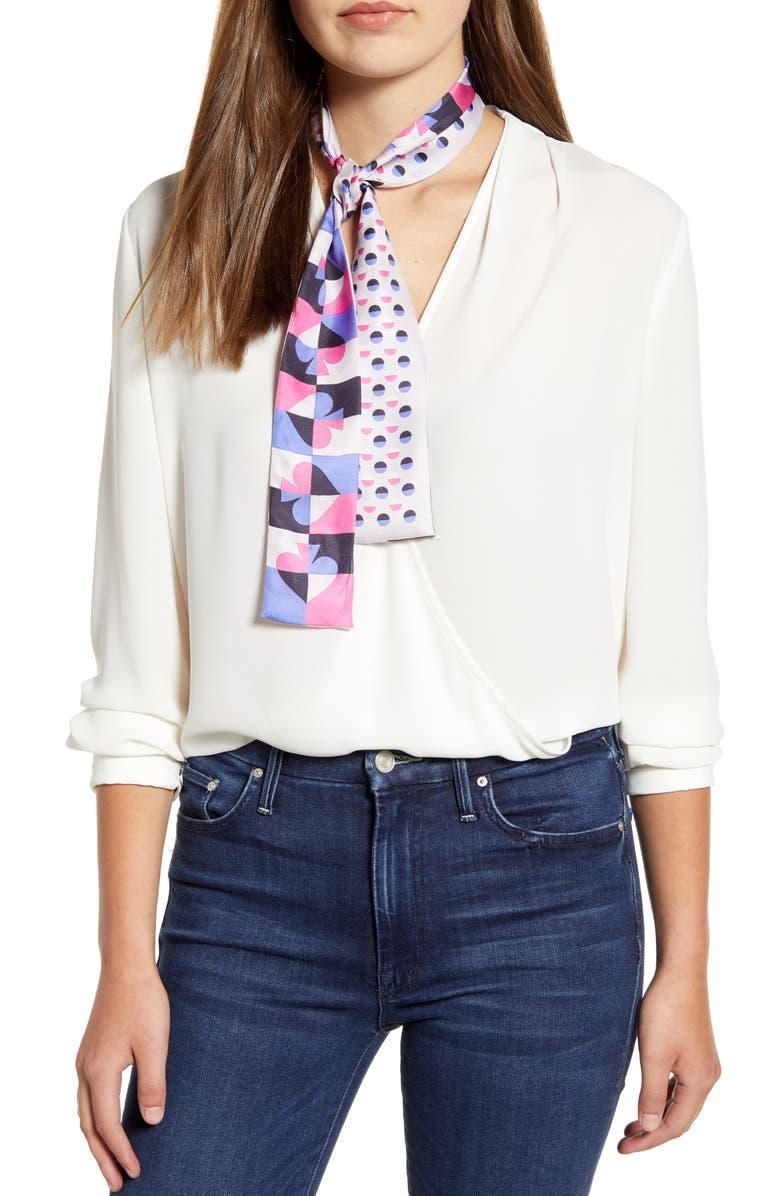KATE SPADE NEW YORK cut spade silk skinny scarf, Main, color, MIRAGE PINK
