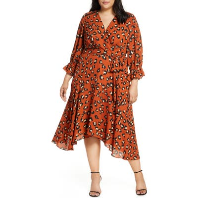 Plus Size Tahari Faux Wrap Midi Dress, Orange