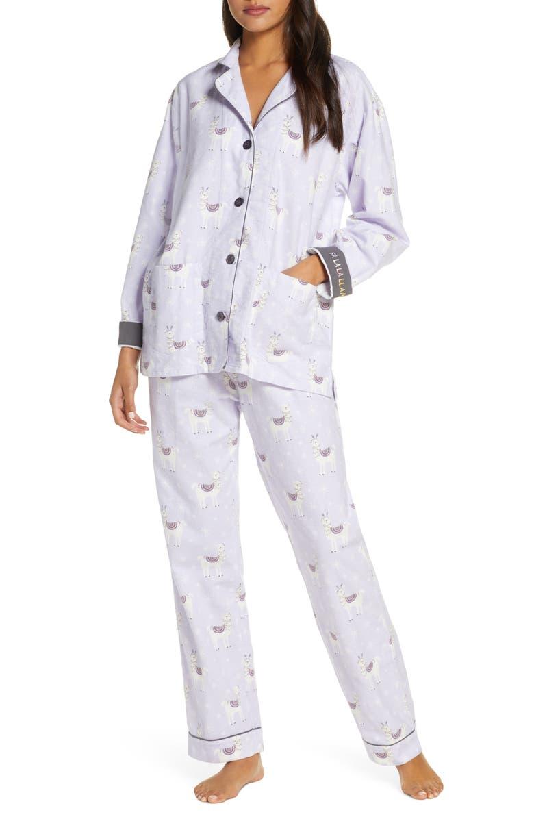 PJ SALVAGE Print Flannel Pajamas, Main, color, PERI
