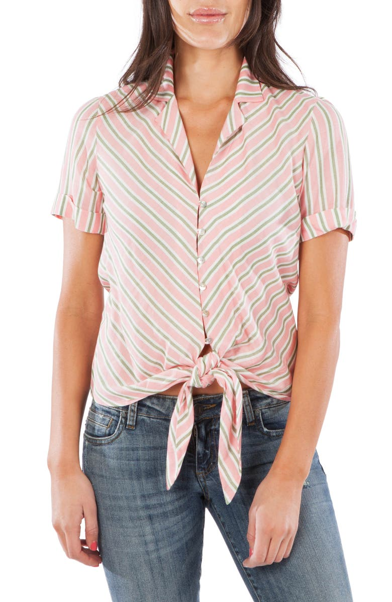 KUT FROM THE KLOTH Penelope Tie Front Shirt, Main, color, CORAL/ OLIVE