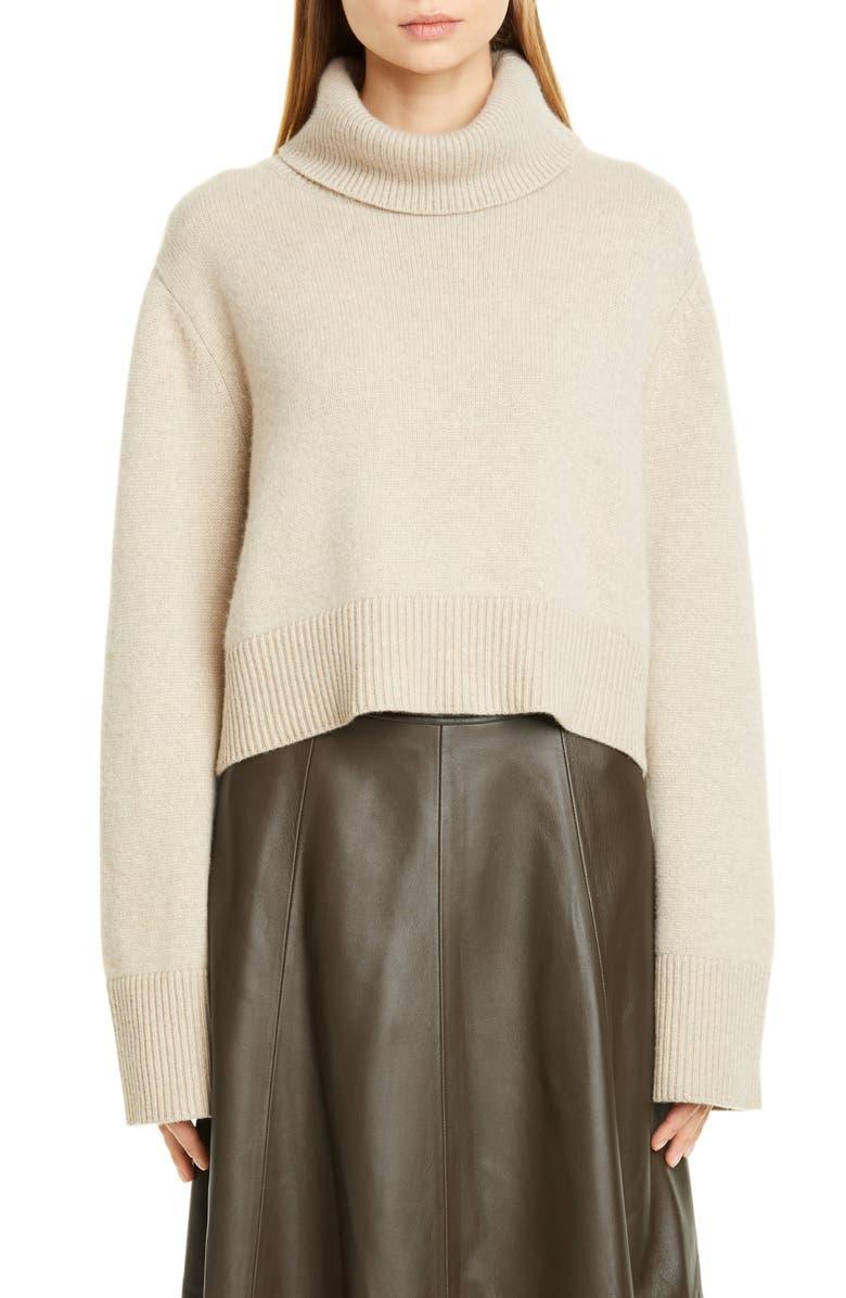 CO Boxy Cashmere Turtleneck Sweater, Main, color, SAND