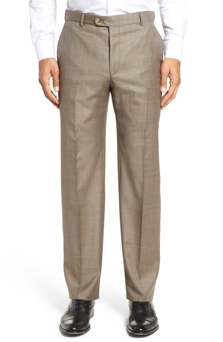 HICKEY FREEMAN Classic B Fit Flat Front Solid Wool Dress Pants, Main, color, TAN SHARKSKIN