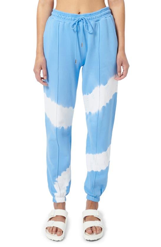 Ninety Percent Circle Tie Dye Organic Cotton Sweatpants In Cornflower/off White