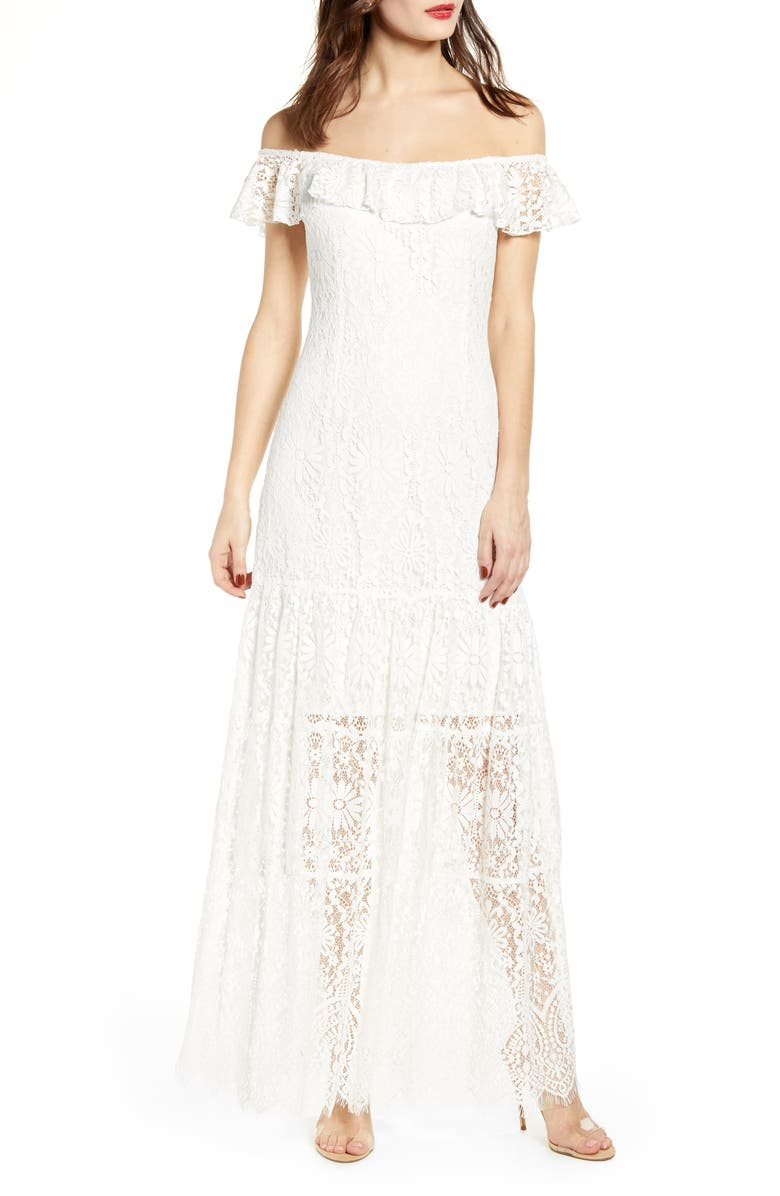 WAYF Odette Off the Shoulder Lace Dress, Main, color, 900