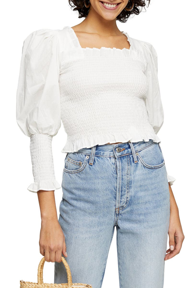 TOPSHOP Smocked Puff Sleeve Crop Top, Main, color, IVORY