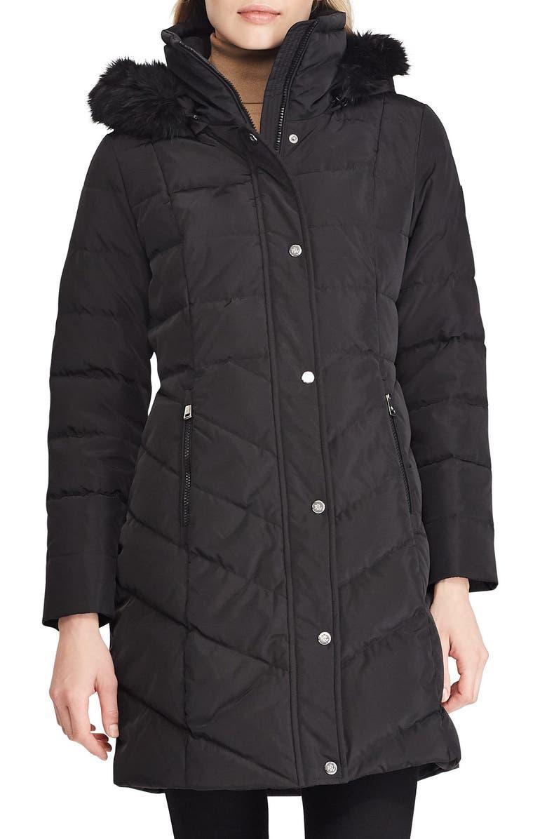LAUREN RALPH LAUREN Faux Fur Trim Down Jacket, Main, color, BLACK