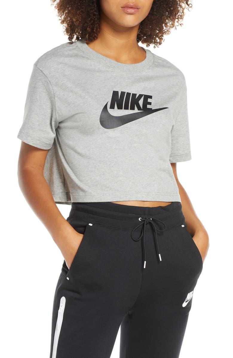 NIKE Sportswear Essential Crop Tee, Main, color, DARK GREY HEATHER/ BLACK