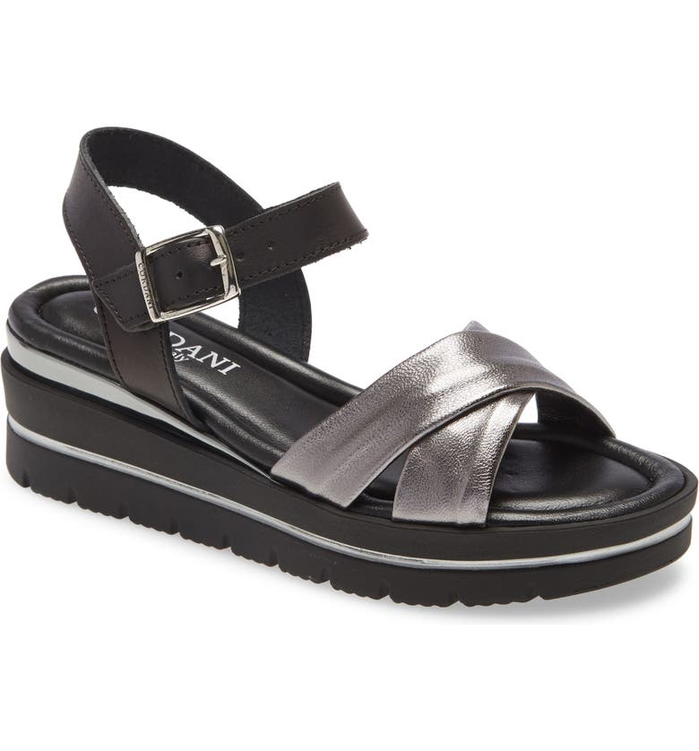CORDANI Alma Platform Wedge Sandal, Main, color, PEWTER/ BLACK LEATHER
