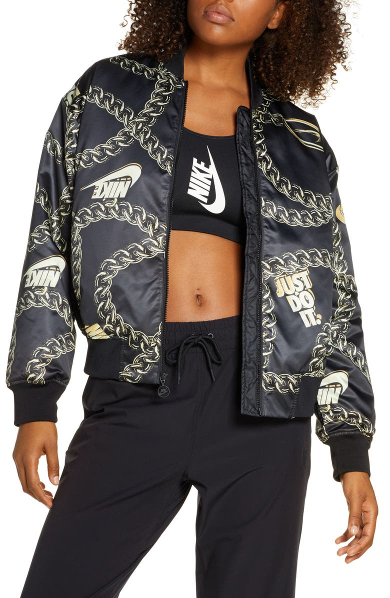 NIKE Sportswear Icon Clash Chain Print Synthetic Fill Jacket, Main, color, 010