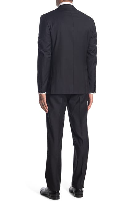 Image of Calvin Klein Charcoal Solid Two Button Notch Lapel Wool Suit