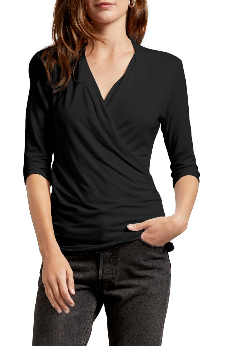 MICHAEL STARS Anne Faux Wrap Tee, Main, color, BLACK
