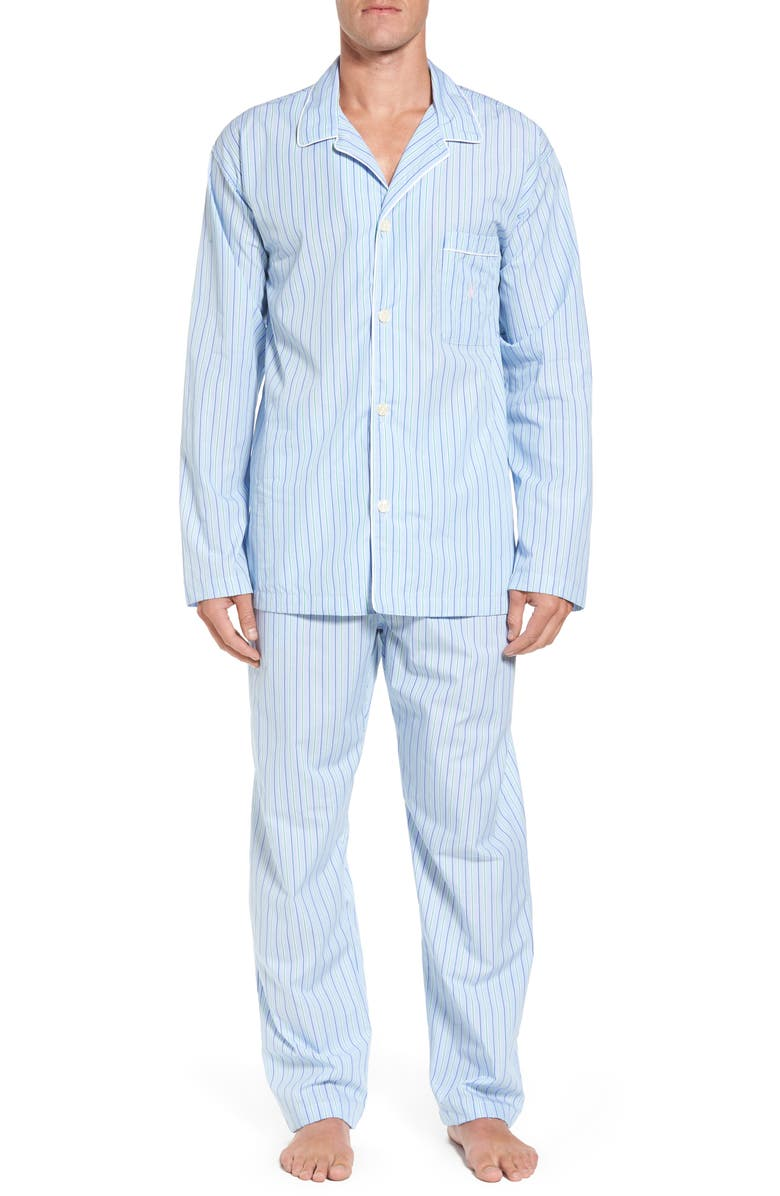 POLO RALPH LAUREN Cotton Pajama Top, Main, color, BARI STRIPE