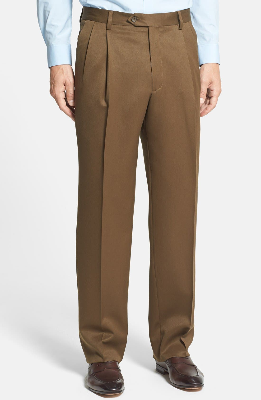 Pleated Classic Fit Wool Gabardine Dress Pants