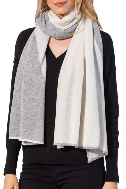 Image of AMICALE Cashmere Two Tone Diagonal Wrap
