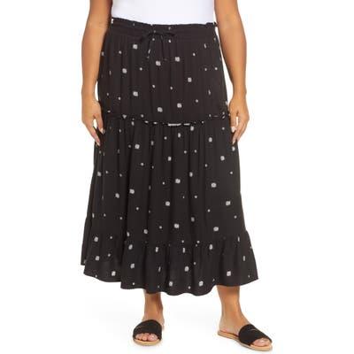 Plus Size Gibson X Hi Sugarplum! Portofino Tiered Midi Skirt, Black