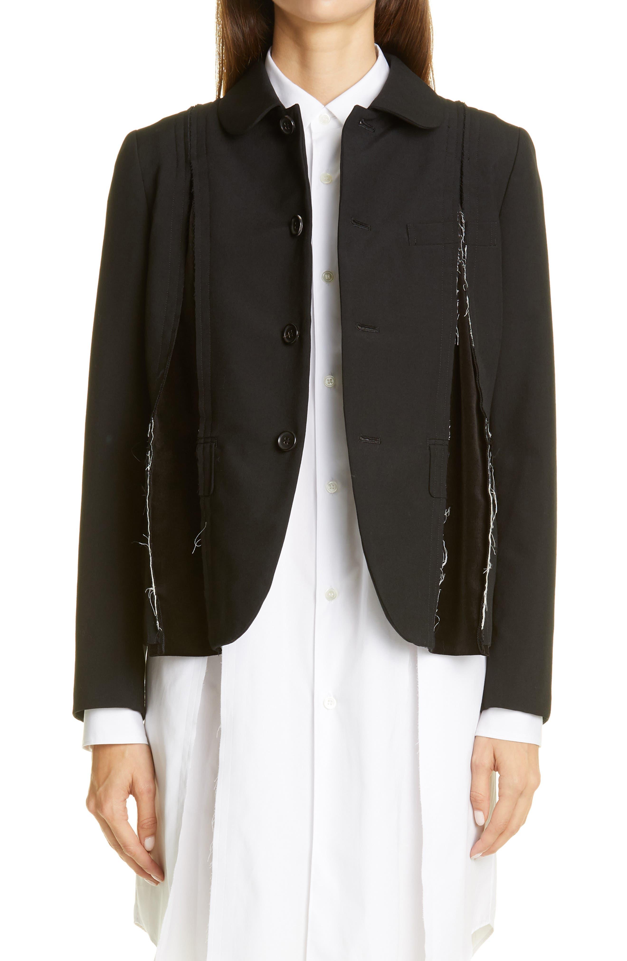 Comme des Garçons Velvet Godet Tropical Wool Jacket | Nordstrom