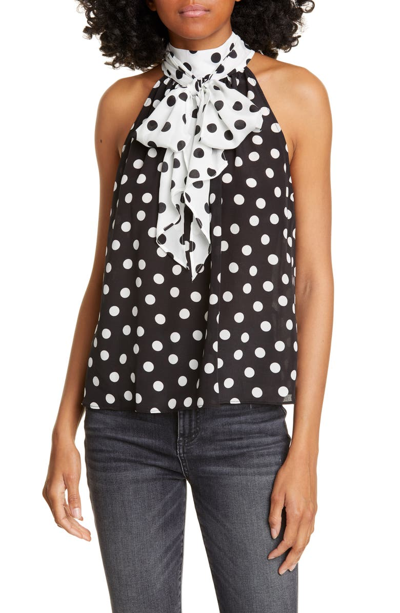 ALICE + OLIVIA Liana Ruffled Bow Top, Main, color, POLKA DOT BLK/ SOFT WHITE