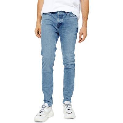 Topman Authentic Bleach Skinny Jeans, Blue