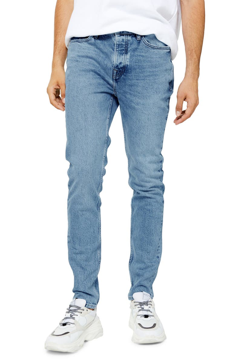 TOPMAN Authentic Bleach Skinny Jeans, Main, color, LIGHT BLUE