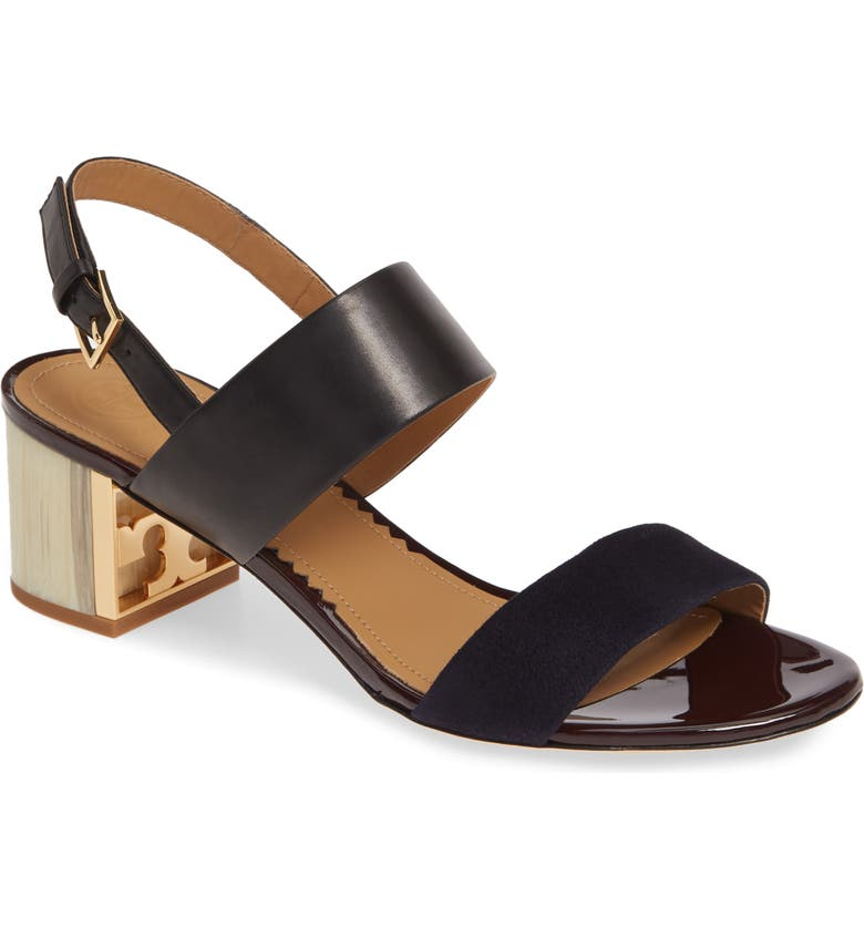 TORY BURCH Gigi T Logo Sandal, Main, color, PERFECT BLACK / MIDNIGHT